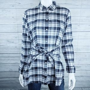 J. Crew Plaid Tie-Waist Button Down Shirt Sz. M